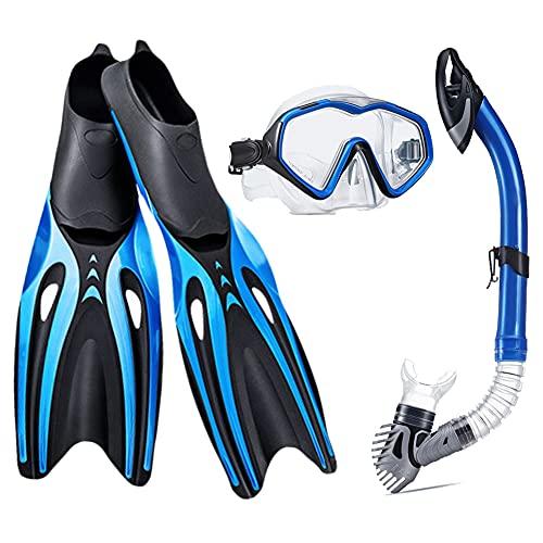 Juego de Snorkel con Aletas de Máscara Paquetes de Equipo de Snorkel para Adultos Snorkel Seco, Lente de Vidrio Templado Antivaho, Kit de Aletas de Buceo para Nadar con Esnórquel