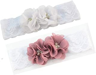 Baby Girls Lace Headband with Double Chiffon Flowers Pearl Hairband Headwrap JA68