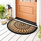 "Delxo Semi Circle Door Mat,24""x 36"" Half Round Low-Profile,Heavy Duty Indoor&Outdoor &Welcome Mat for Front Door,Back Door,Front Porch,Back Porch,Entrance, Garage(Yellow)"