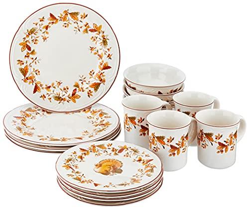 Pfaltzgraff Autumn Berry 16 Piece Dinnerware Set, Service for 4, Multi Colored