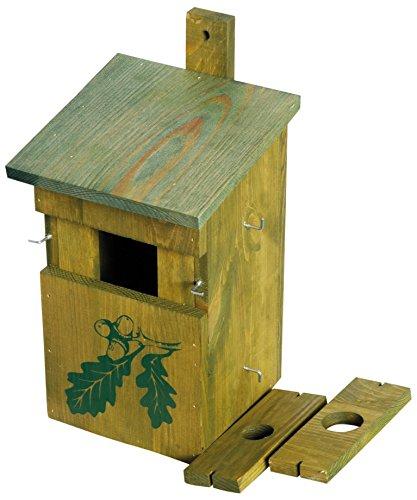 """dobar 22157e Dekorativer Nistkasten für Vögel, aus Holz (Kiefer, Massivholz), für Garten, Balkon, 3 variable Einfluglöcher, Motiv \""""Eiche\"""" - Nisthilfe Vogelhaus"""