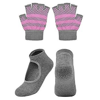 Cosmos Non-Slip Yoga Gloves and Socks Set Pilates Socks & Gloves Set for Women Barre Ballet Bikram Training & Workouts  Gray