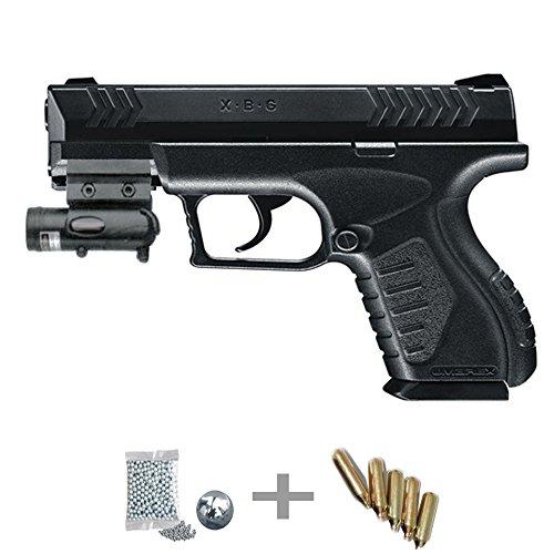 XBG Láser Kit Umarex Pistola de Aire comprimido (CO2) y balines de Acero (perdigones BBS) Calibre 4.5mm. Réplica + Accesorios <3,5J