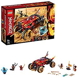 This 4 x 4 toy truck features an opening minifigure cockpit, rotating shuriken slicer with ramming function and two spring-loaded shooters Plus an opening weapon storage compartment with assorted weapons, turbo boosters with flame exhaust elements an...