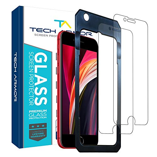 """Tech Armor Ballistic Glass Screen Protector for Apple iPhone SE 2020 / iPhone 6 / 6S, iPhone 7, iPhone 8 (4.7"""") - 99.99% Clarity and 3D Touch Accuracy [2 -Pack]"""