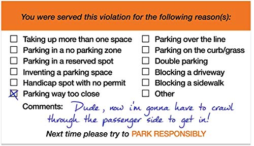 """You Parked Like an Idiot Business Cards / 100 Bad Parking Cards / 2"""" x 3"""" Cards Photo #2"""