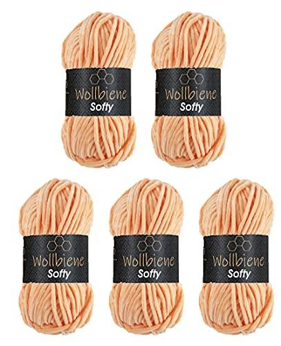 Wollbiene Softy 5 x 100 Gramm Chenille-Wolle Strickwolle, Babywolle, 500 Gramm Chenille Wolle Super Bulky (apricot 90)