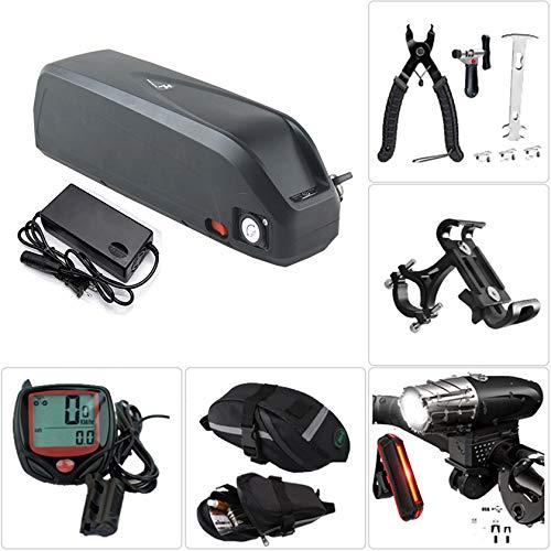 Batería de bicicleta eléctrica de iones de litio Batería de bicicleta eléctrica con cargador, faro de carga USB y juego de luces traseras, herramienta de extracción, bolsa de alforja,36V16Ah