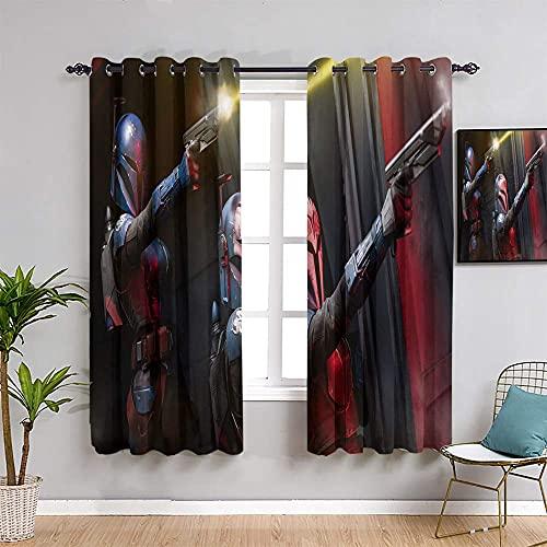 YHML S-Tar W-ars - Cortinas de oscurecimiento para habitación aislante, 99 cm de largo, para hombre, para katan kryze temporada 2, fácil de instalar, para niños de 55 x 39 pulgadas de ancho