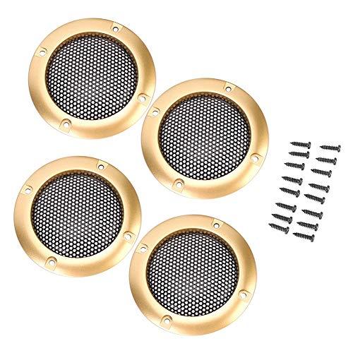 Mesh Protector auto luidspreker afdekking woofer subwoofer grill, 2 inch auto luidspreker grill net stofdichte afdekking decor gouden frame zwart mesh