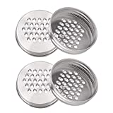 uxcell 4pcs Stainless Steel Regular Mouth Mason Jar Grater Lids Cheese Grating Lid Kitchen Cutter Lid for Vegetable Potato Carrot