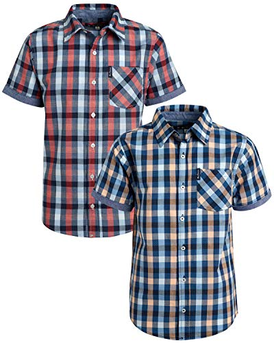 Ben Sherman Boys Short Sleeve Button Down Woven Dress Shirt (2 Pack), Peach/Blue/Red Plaid, Size Large(14/16)