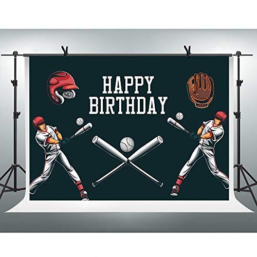 FHZON 2,1 x 1,5 m großer Hintergrund für Geburtstagsparty, Baseball-Thema, Fotografie-Hintergründe, Baseballkappe, Baseball-Spieler, Party-Tapete, Fotokabinen-Requisite, BJLHFH151