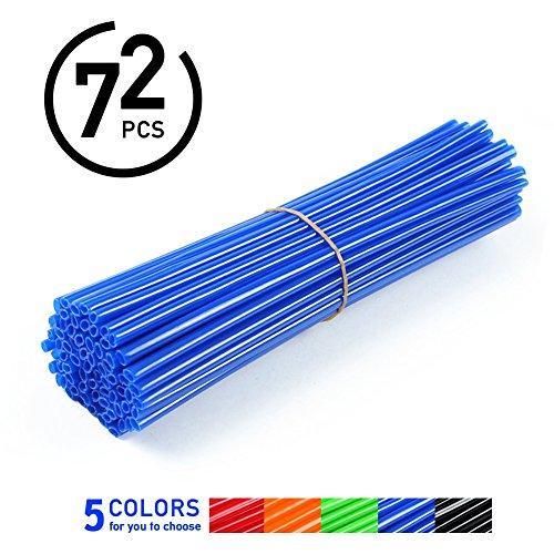 72Pcs Spoke Skins Cubierta del Radio de Rueda de Motocicleta para Motocross Bicis de la Suciedad - Tubo de Cubierta para Rayo Llantas 5 Colores ( Color : Azul )