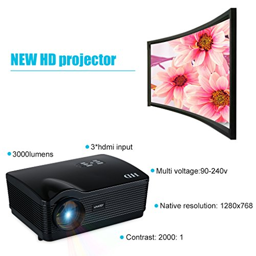 Uhappy H3 - HD Proyector (150W, 720P, HDMI/USB/SD/ATV/AV/VGA, 1280 ...