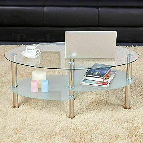 MUPAI Tables Basses, 3 Niveaux Verre Trempé Table D'appoint Ovale pour Salon, Café, Bureau (Transparent-Blanc)