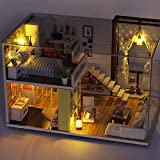 Nichino Einfache Stadt Zimmer Puppenhaus Miniatur DIY Puppenhaus mit Möbeln Vintage Style 3D...