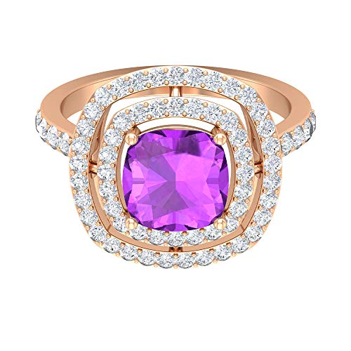 Rosec Jewels 14 quilates oro rosa cojín round-brilliant-shape H-I Purple Diamond