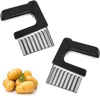 2 pcs Coupe-légumes en Acier Inoxydable,Couteau de Patate,Trancheuse de Frites Vague,Couteau Tranches Pomme Terre,Coupe Po...