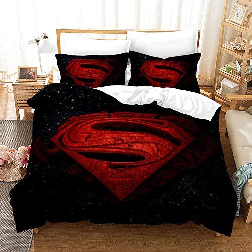 chenyike Superman Bettwäsche 155x220 cm Mikrofaser 3 teilig Set 1 Bettbezug mit Reißverschluss + 2 Kissenbezug 80x80cm, 100{d1eaee2d00c6510c5f360f73b53699f180b238be3d5fac5d4c0c2ce1e7ea3aa8} Weiche und Angenehme