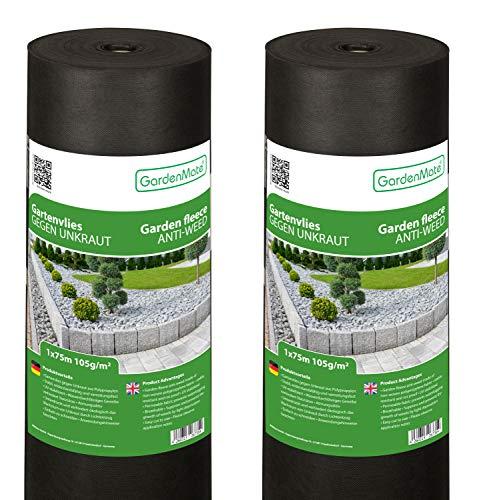 GardenMate 2X Rolle 1mx75m Rolle 105g/m² Premium Gartenvlies - Unkrautvlies Extrem Reißfestes Unkrautschutzvlies - Hohe UV-Stabilisierung - Wasserdurchlässig - 2x1mx75m=150m²