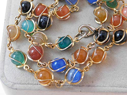 Green Gold Black Blue Agate Stone Caged Bead Gold Tone 23' Necklace 9i 81 ES-2119