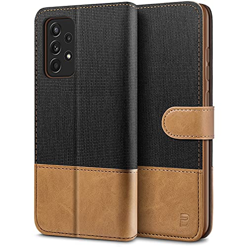 BEZ Funda Samsung A52, Carcasa para Samsung Galaxy A52 5G / 4G Libro de Cuero con Tapas y Cartera, Cover Protectora con Ranura para Tarjetas y Billetera, Cierre Magnético, Negro