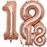 Globos Número 18 Cumpleaños XXL de oro rosa - Globo de lámina gigante en 2 tamaños 40 y 16 | Set XXL 101cm + Mini 40cm version Decoraciones de cumpleaños |Ideal para el 18 como decoración