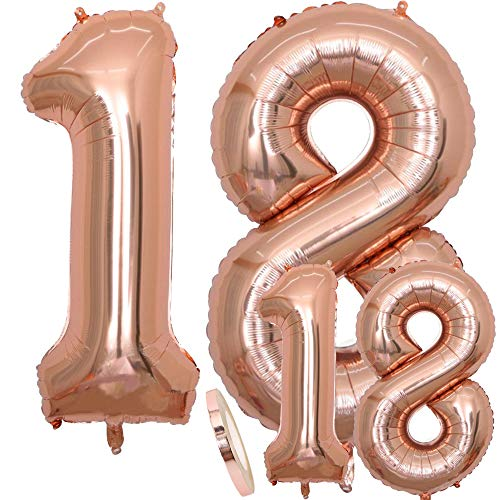 Balloons Number 18 Birthday XXL Rose Gold - Palloncino foil gigante in 2 misure 40 'e 16' | Set di decorazioni per compleanno XXL 100cm + Mini 40cm | Ideale per il 18 come decorazione