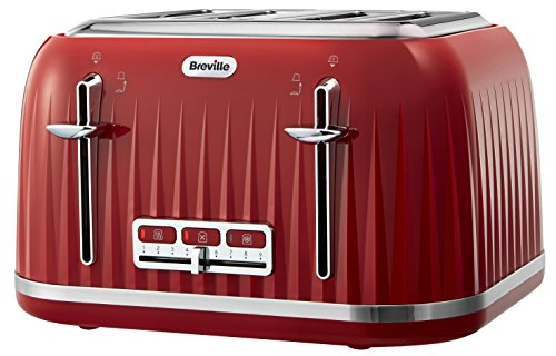 Breville VTT783 Impressions 4-Slice Toaster with High-Lift and Wide Slots, Red