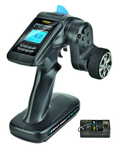 Carson 500500055 FS 3K Reflex Wheel Pro 3 LCD 2.4G Bec-Accessoires de véhicule, compatibles pour Kits, modélisme, y Compris récepteur, RC, 2 télécommandes 4 GHz, Noir