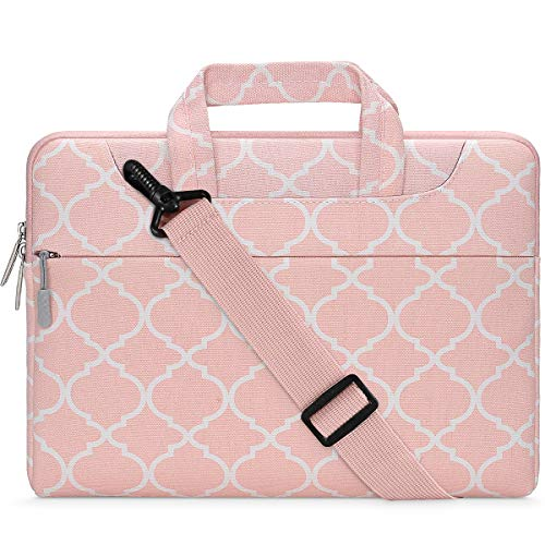 MOSISO Laptop Shoulder Bag Compatible with 2019 MacBook Pro 16 inch A2141, 15 15.4 15.6 inch Dell Lenovo HP Asus Samsung Sony Chromebook, Canvas Carrying Briefcase Sleeve Case Quatrefoil MO-QAF006