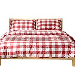 100% Washed Cotton Reversible Red Plaid Full Size Bedding Sets Collections Gingham Checkered Grid Geometric Queen Duvet Cover Set Cotton with 2 Pillowcases Zipper Closure for Teens Girls Boys Adults