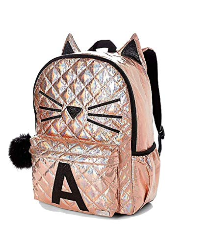 Justice School Backpack Rose Gold Quilted Cat Initial (Letter H)