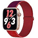 Qunbor Correa Compatible con Apple Watch 38mm 40mm 42mm 44mm para iWatch Series 6 5 4 SE 3 2 1, Sport Nailon Trenzado Loop Tela Tejido Elastica Repuesto Pulsera Transpirable Reemplazo, Rojo Purpura