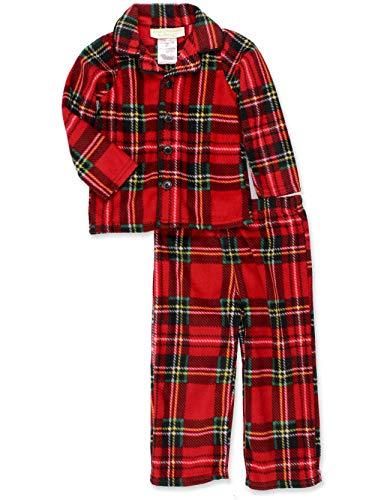 Komar Kids Toddler Boys Fleece Traditional Holiday Christmas Plaid Coat Style Pajamas (2T, Toddler Red)