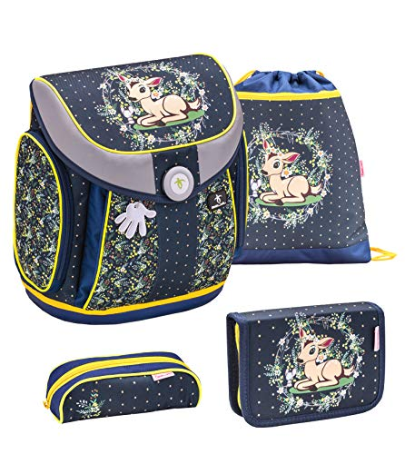 Belmil ergnomischer Schulranzen Set 4 - teilig für Mädchen 1, 2, 3, 4 Klasse Grundschule/Magnet Verschluss/Leicht 930-1000 g/Bambi, REH/Blau (405-30 Magical Forest)