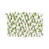 Valla Retráctil Que Se Expande,Seto de Valla de Madera Artificial, Seto de Madera Flores de Cerezo Artificiales,Pantalla de Enrejado para Decoración de Jardín