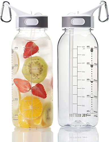 BOTTLED JOY 32oz Water Bottle with Straw, BPA Free Water Bottle Hydration with Motivational Time Marker Reminder Leak-Proof Drinking Water Bottle for Camping Sports Workouts and Outdoor Activity product image
