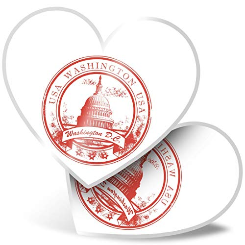 Awesome 2 x Heart Stickers 7.5 cm - Washington D.C. United States Fun Decals for Laptops,Tablets,Luggage,Scrap Booking,Fridges,Cool Gift #5753
