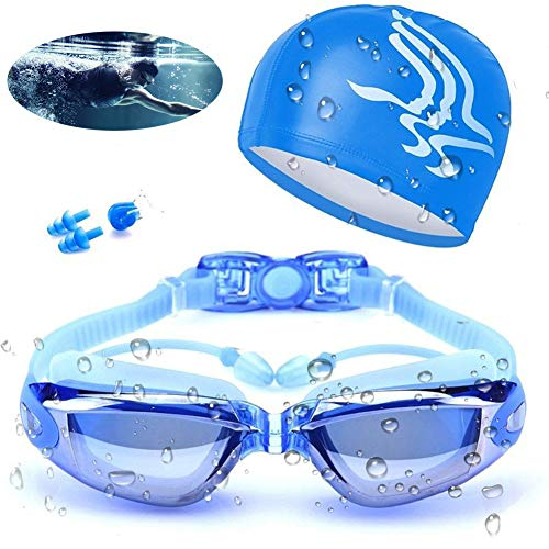 Aokelily Swim Goggles and Cap Set 4 in 1, UV 400 Protection Lenses Clear Anti-Fog Swimming Goggles Waterproof No Leaking with Nose Clip + Ear Plugs for Adult Men Women Kids (Blue)