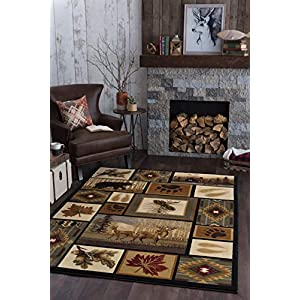 Northern Wildlife Novelty Lodge Pattern Multi-Color Rectangle Area Rug, 5′ x 7′