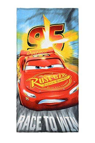 Cars Strandtuch, Badetuch, 140 cm x 70 cm, 83% Baumwolle, 17% Polyester, Lightning McQueen und Cruz Ramirez, für Kinder (Bunt)