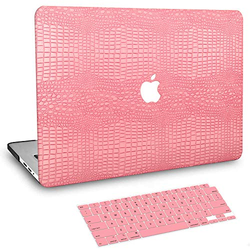 BELK MacBook Pro 13 inch Case 2020-2016 with Touch Bar M1 A2338 A2289 A2251 A2159 A1989 A1706 A1708, Crocodile Skin Pattern PU Leather Hard Shell with Keyboard Cover Compatible with Pro 13.3, Pink