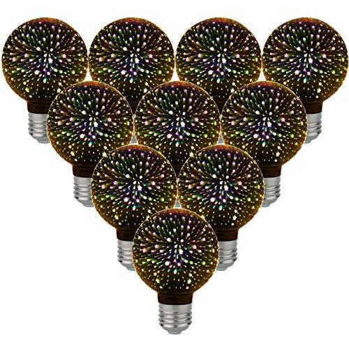 LIBAI Edison E27 Decorative LED Bulb - 3D-AC85-265V Firework Effect, 4W Non-Dimmable, Used for Decorative Mood Lighting, 10Pcs,Warm White