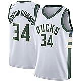DIMOCHEN Movement Ropa Jerseys de Baloncesto para Hombres, NBA Bucks 34# Antetokounmpo, Fresco, cómodo, Camiseta Uniformes Deportivos Tops(Size:L,Color:G1)