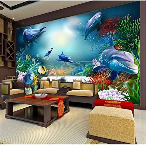 Muurbehang grote creatieve esthetiek onderwaterwereld waterval koraal 3D vliesbehang super groen_400cm(w) x250cm(h)(13'1