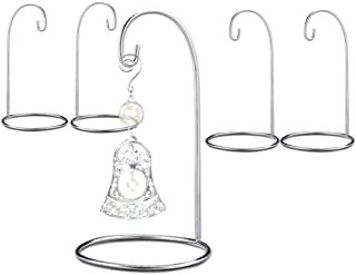 BANBERRY DESIGNS Ornament Display Stand - Set of 5 Silver Christmas Holders - Chrome Finished Metal 7-Inch Tall - Air Plant and Terrarium Stands
