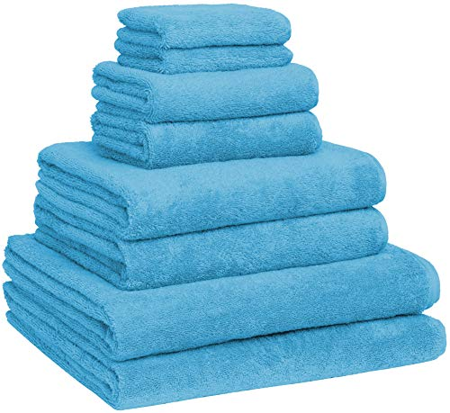 Luxury Extra Large 8-Piece Turkish Towel Set with 4 Bath Towels (30x60 and 24X48) - Aqua