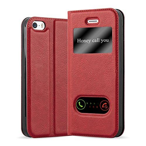 Cadorabo Funda Libro para Apple iPhone 5 / iPhone 5S / iPhone SE en Rojo AZRAFÁN - Cubierta Proteccíon con Cierre Magnético, Función de Suporte y 2 Ventanas- Etui Case Cover Carcasa